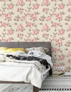 Papel de Parede Floral Rosa...